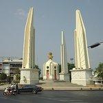 The memorial with a rare break in traffic