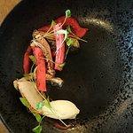 Starter - Torched Mackerel, Rhubarb Puree and Horseradish Cream