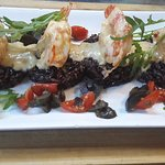 Prawns on a bed of wild black rice