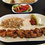 Shared starter hot meze (i am sorry about the spelling) and cicken souflaki (spelling may be wro