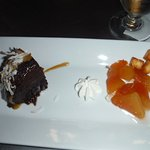 coconut flan, chocolate cake, mango and fried cheese