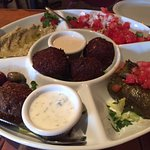 Mezza Platter - baba ghannouj, shankleesh, grape leaves, kibbe ball, falafel, mixd olives