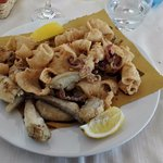 Fritto misto, assorted deep-fried seafood