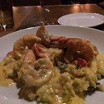 Gamberi Vespa - jumbo shrimp, vegetable risotto, Sicilian BIVI vodka cream sauce, roasted tomato