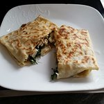 Peter CrepeWrap (chicken, spinach, mushrooms cream)