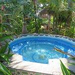 A beautiful hot tub near the pool.