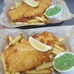 Traditional fish and chips. Our chips are and cut and double fried. £4.95 eat in or takeaway!