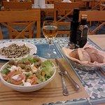 simple but good salad, bread basket, good wine, unfortunate pasta