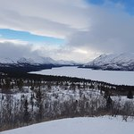 Snow mobiling on Fish Lake and the surrounding mountains