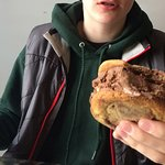 He managed to pause a moment so I could show how thick this ice cream cookie sandwich is!