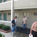 Pressure washing decks and sidewalks