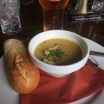 vegetable soup & roll for starter
