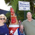 "Teresa and I with a big ""rooster""."