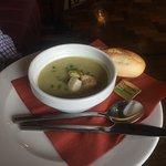 potato & leek soup & roll for starter