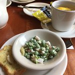 Delicious English pea salad and soda bread