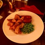 Childs Sausage, Chips and Peas.