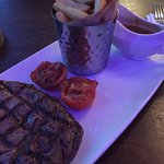 Steak was cooked to perfection, chips were a bit tasteless though. Staff were lovely