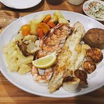 Broiled Combo Platter -- catch of the day, shrimp, scallops, potato of day, and veggie w/ crab c