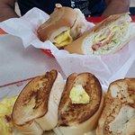 sandwich and scrambled eggs