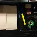 Office supplies in desk drawer
