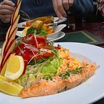 Fresh salmon salad.