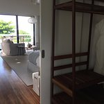 Our beachside villa room, photo taken from bathroom area.
