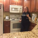 Making dinner in the open concept kitchen - cheers!