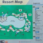 The resort map, which can be found outside each of the buildings to help you orient yourself