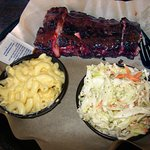 St. Louis-style spare ribs w/ mac & cheese, coleslaw