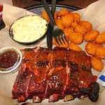 St. Louis-style spare ribs w/ mac & cheese & corn fritters