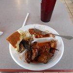 Buffet rib tips , pulled pork, beans, potato salad, corn bread, iced tea
