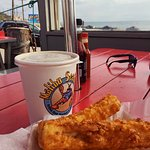 Fish and chips by the Pacific Ocean
