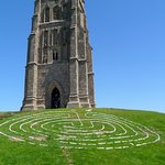 St. Michael's tower with a labyrinth design made from wood.