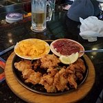Fried oysters, Mac n cheese and red beans and rice.