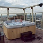 One of the two rooftop hot tubs