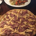 Rueben pizza and the corned beef plate