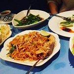 padthai, beef salad, ong choi veg