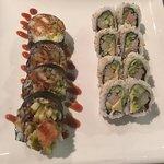 Pictured are crab crunch, volcano, Samurai, Tyson  and California rolls.