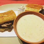 Half Steak & White Cheddar Panini with Broccoli Cheddar Soup