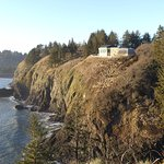 View of the Lewis and Clark Interpretive Center from Cape Disappointment Lighthouse site