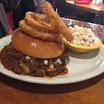 Terlingua Burger (topped with chili and onion rings)