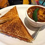 Grilled Cheese (with tomato) and chili on the side