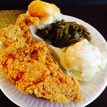 2 piece white meat, green beans, mashed potatoes and gravy