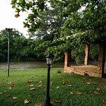 Pavilions on side of river