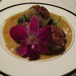 Scallops with lobster sauce.