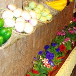 Flowers and vegetables beautifully arranged!