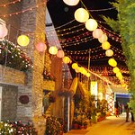 The way which leads to the restaurant is beautifully decorated.