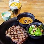 Black Angus Ribeye, Mushroom Sauce, Side Salad, Belgian Fries