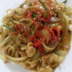 Soy chicken seasoned with soy sauce & stir fried w onions & garlic