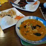Red curry and duck with sweet basil sauce